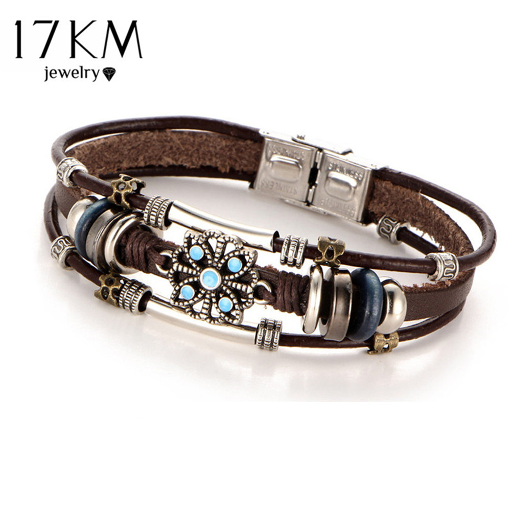 17 KM 2 Stil Vintage Blume Armbänder & Bangle Boho Mehrere Schichten Leder Armband Handgemachte Weibliche Punk Schmuck für Frauen Mann