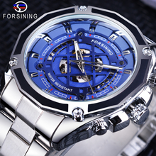 все цены на Forsining Skeleton Clock Silver Stainless Steel Fashion Blue Dial with Luminous Hands Men's Automatic Watches Top Brand Luxury онлайн