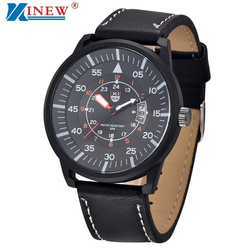 XINEW Mens Watches, Fashion Leather Strap Quartz Watch Men Brand Sports Outdoor Military Army Wrist Watch Relogio Masculino #YO