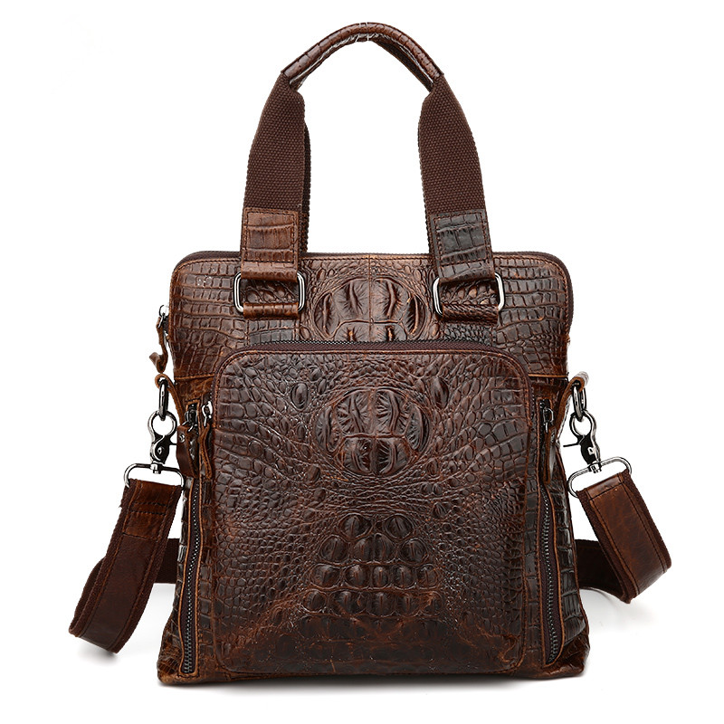 ФОТО Nesitu Alligator Pattern Vintage Real Skin Genuine Leather Men Messenger Bags Man Briefcase Portfolio #M9908