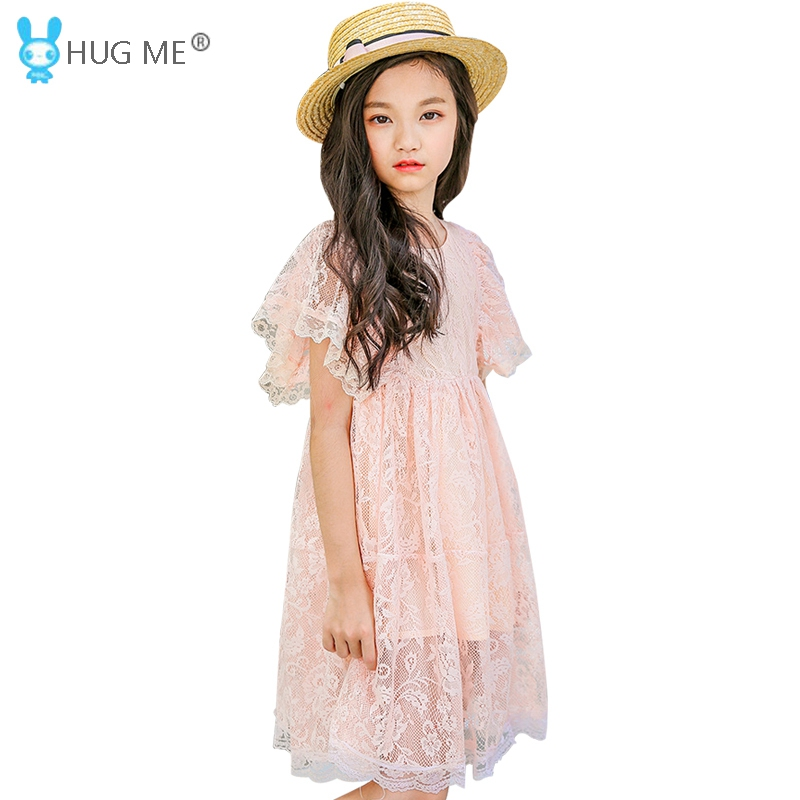2018 Summer Style Elegant Girls Lace Dress Size 12 Brand Teen Girl Dress Knee length Short Sleeve Pink Dresses for Teenagers shein eyelet crochet lace detail frill trim dress 2018 summer round neck butterfly sleeve dress women pink elegant ruffle dress