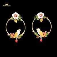 2017 Uil Witte Bloem Emaille Ronde Romantische Oorbellen Luxe Vrouwelijke Gold 925 Sterling Zilveren Naald Vrouwen Party Sieraden