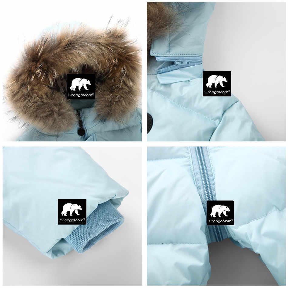 Orangemom jumpsuit kids winter baby snowsuit + natuur bont, 90% eend donsjack voor meisjes jassen Winter Park voor jongens overalls