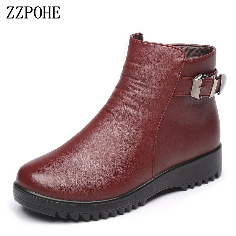 ZZPOHE Mother cotton shoes middle aged ladies comfortable Women Genuine Leather Flat Snow Boots grandma snow