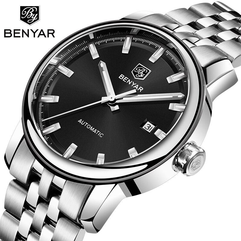 2019 BENYAR New Mens Watches Top Luxury Business Steel Watch Automatic Machinery Waterproof Sport Watch Men Relogio Masculino