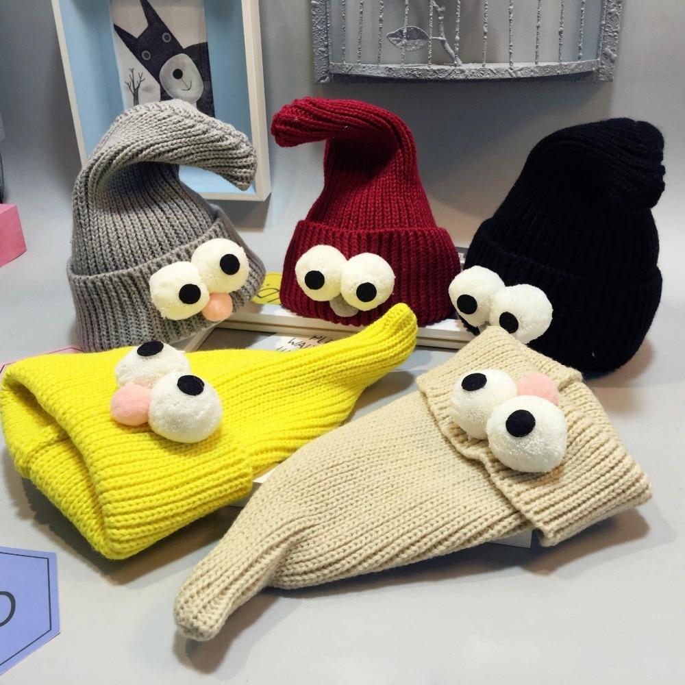 2019 Kūdikių kepurės ir skrybėlę žiemos korėjiečių naujagimio kepurė Lovely Big Eye megztos vilnos vaikai Cap Sharp Necromancer kūdikio dangtelis 3-36 m
