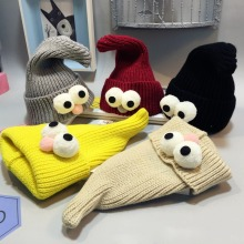 Winter Korean Newborn Baby Hat Lovely Big Eye Knitted Wool Children Cap Sharp Necromancer