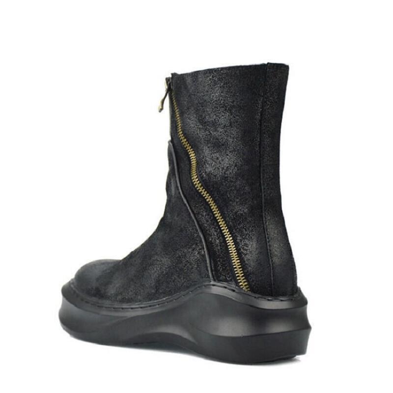 Qualidade Boots Sapatas Dos Homens Fundo Preto Mycolen Botas Estilo Casuais Moto Ankle Marca Inverno De Couro Bottes Grosso Superior Russo qzvtf