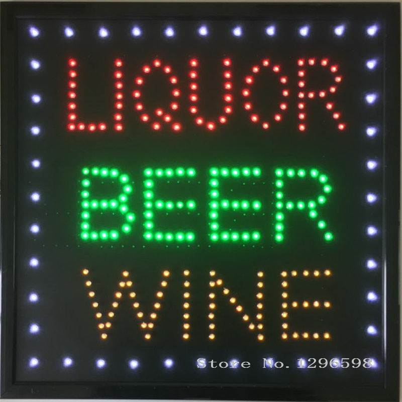 CHENXI nouvelle conception led liqueur bière vin magasin bar à boire néon signe ouvert 19x19 pouces graphiques intérieur ultra lumineux de led