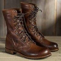 Masorini New Fashion Men Motorcycle Boots Cool Rivet Combat Army Men Boots Punk Goth Biker Men Leather Shoes Plus Size 48 WW 247