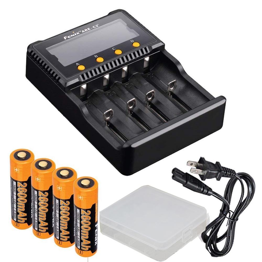Bundle  Fenix ARE-C2 Plus ( ARE-C2+) Four Channel Digital Multi Charger  with 4x 2600mAh 18650 Battery and battery case 3779321a1e8