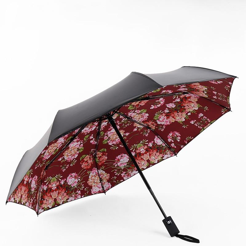 New pattern Men Black Coating Folding Automatic Umbrella Women Flowers Windproof ultraviolet-proof Rain Umbrellas For