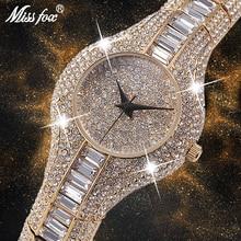 MISSFOX 30 مللي متر ساعة نسائية صغيرة للصدمات مقاوم للماء السيدات الفاخرة Ar ساعة معدنية أساور حجر الراين Bu الساعات الصينية الرخيصة