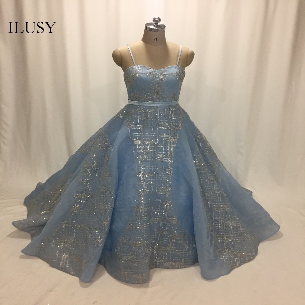 ILUSY Baby Blue Prom Dress Organza Glitter Elegant Sequins Evening Gown  Prom Party Gown vestido de festa 160a899ab924