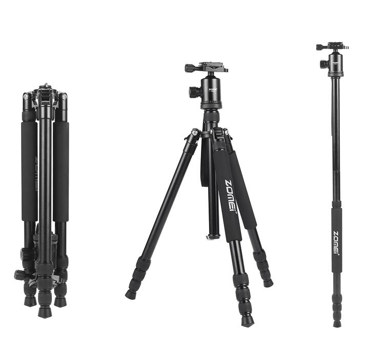 Zomei Z818 Portable Professional Aluminum Travel Camera Tripod with quick release plate monopod flexible tripod legs zomei travel camera tripod m8 aluminum monopod professional tripod flexible with phone holder for live broadcast dslr canon sony