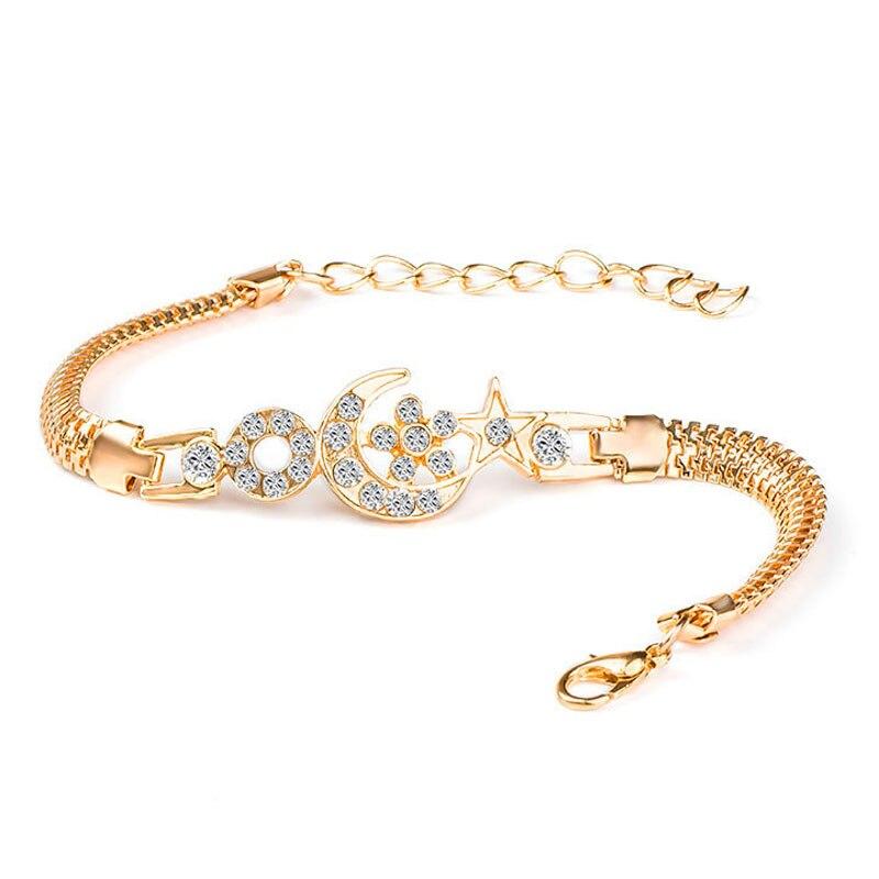 QCOOLJLY Female Jewellry Accessories Multi-Designs Gold Color Alloy Crystal & Rhinestone Flash Cuff Chain wrap bracelet Bangle 3