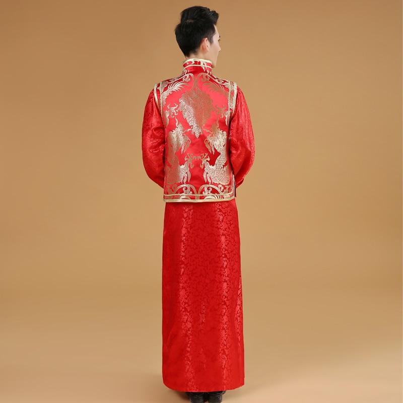 Kinesisk Manlig Bröllopsklänning Mans Tang Suit Man Kinesisk Röd - Nationella kläder - Foto 3