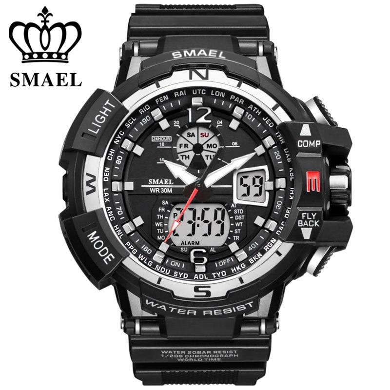 SMAEL Marque Sport Montre Hommes Imperméable De Mode Militaire Horloge de Choc Hommes De Luxe Analogique À Quartz Double Affichage montres