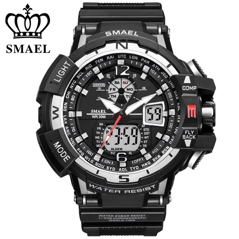 Smael marca deportes reloj Hombres Nuevo impermeable moda Militar reloj los hombres de lujo analógico cuarzo de doble pantalla Relojes