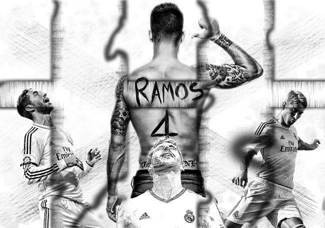 004 Sergio Ramos - Spanish Footballer Champions League 2014 20x14 Poster