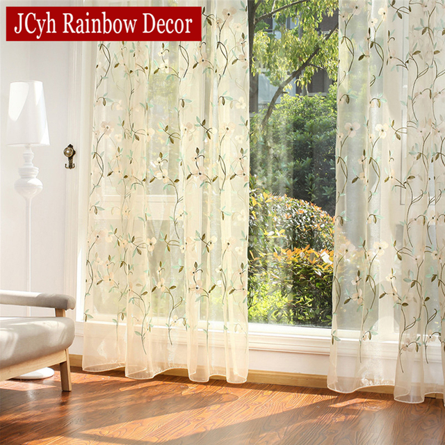 Floral Embroidered Sheer Tulle Curtains 4