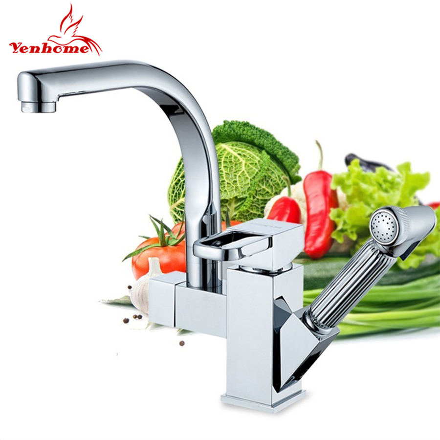 Solid Brass Kitchen Faucet with Hoses Pull Out Sprayer Vessel Bar Sink Faucet Single Handle Hole Cold and Hot Water Mixer Tap jomoo brass kitchen faucet sink mixertap cold and hot water kitchen tap single hole water mixer torneira cozinha grifo cocina