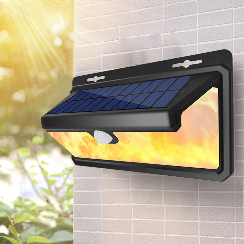 100/158 LED Solar Lamp Flickering Flame Effect Waterproof Outdoor Yard Stair Pathway Landscape Solar Light Garden Wall Lamp