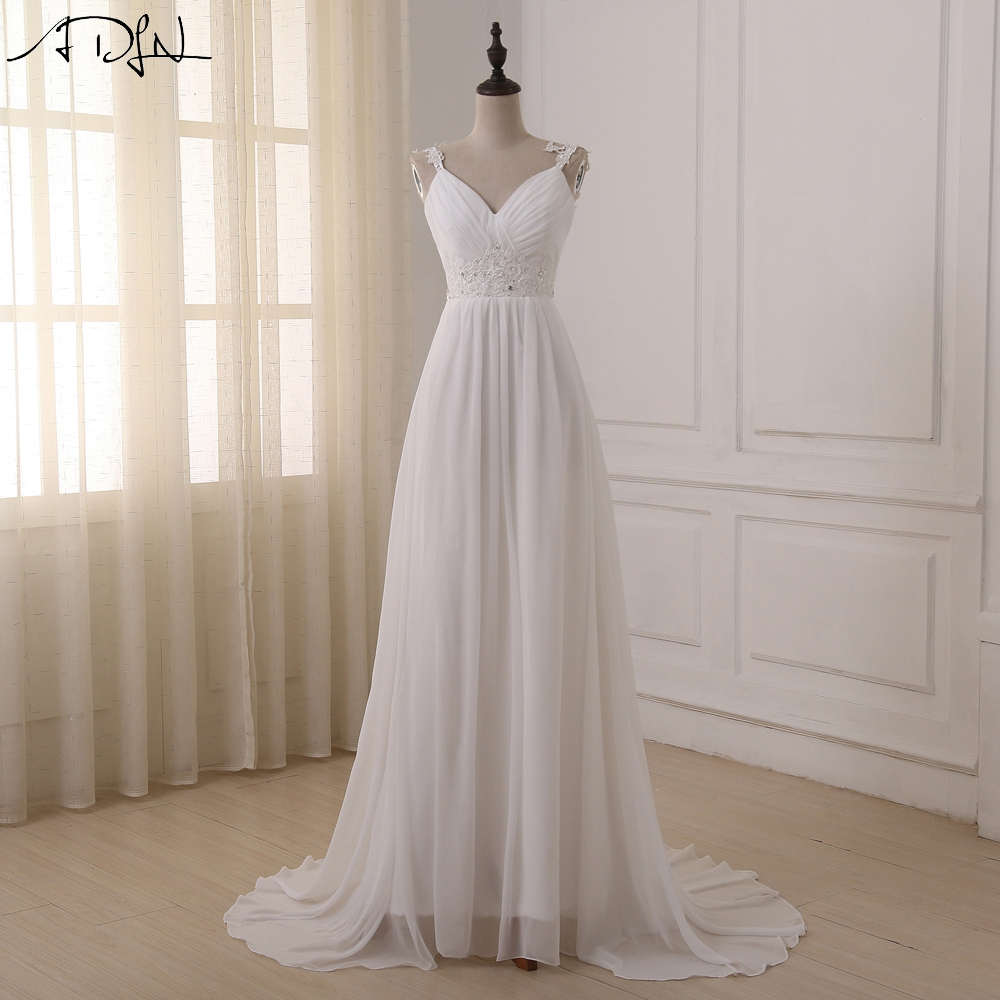 Online get cheap beach wedding dresses for Cheap chiffon wedding dresses