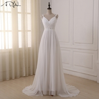 Simple Backless A Line Cheap Beach Wedding Dress 2016 Lace Wedding Gown Under 100 Bride Robe