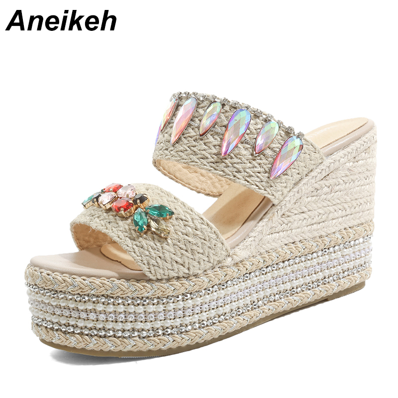 Aneikeh 2019 Leisure Cloth String Bead Ladies Slipper Outer Wear Thick Hemp Rope Wedges Ladies Slides Slippers Colorful BlackAneikeh 2019 Leisure Cloth String Bead Ladies Slipper Outer Wear Thick Hemp Rope Wedges Ladies Slides Slippers Colorful Black