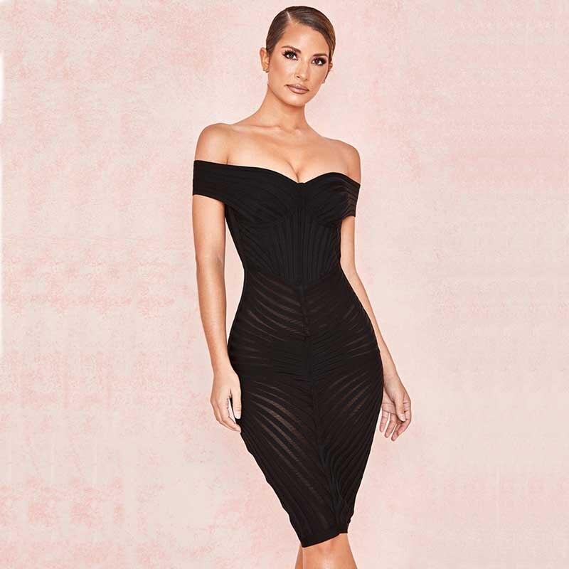 Cou Bandage Perspective 2019 Bretelles Sans Noir Gros Femmes En Celebrity Boutique Slash Robe Sexy h2714 Date Cocktail Yfw6CCq