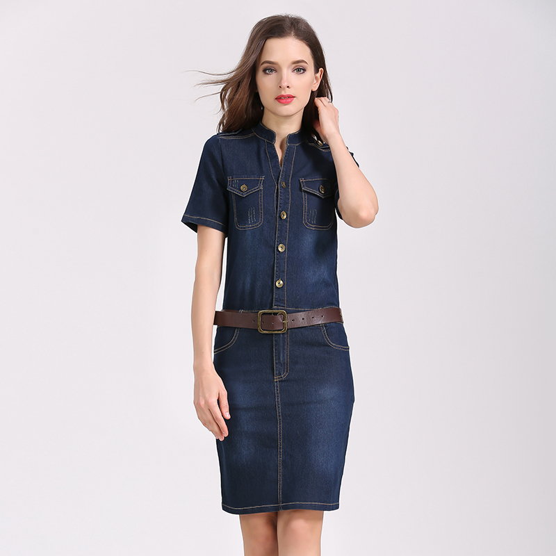 bbf2bb41dc6 Pencil Jean Dresses 2018 Summer Style Sexy Hip Women Short Sleeve Denim  Dress Woman Slim Casual Club Bodycon Jeans Women Dress-in Dresses from  Women s ...