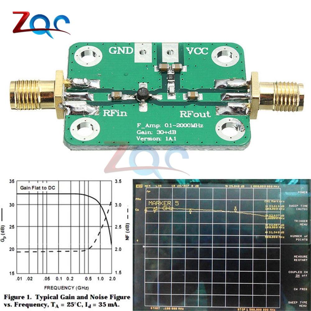 0.1-2000MHz RF wideband amplifier gain 30dB low-noise amplifier LNA Board Module vk1612z2m3l gps test board with low power consumption of beidou lna navigation service module development board