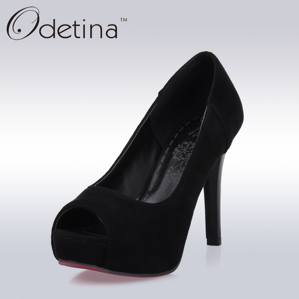 Odetina 2017 Sexy Peep Toe Super High Heels Women Platform Suede Pumps Women Party Dress Shoes Plus Size Ladies High Heel Shoes apoepo brand 2017 zapatos mujer black and red shoes women peep toe pumps sexy high heels shoes women s platform pumps size 43