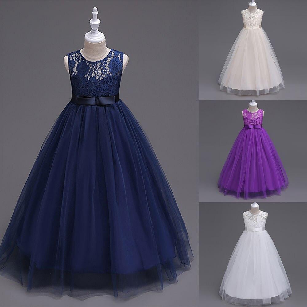 Kids Girls Chiffon Lace Princess Wedding Bridesmaid Pageant Party Formal Girls Dress Dress Flower Girl Dresses