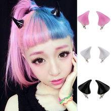 Candy Color Halloween Devil Horn Hairpin Girls Harajuku Headwear 2 Pcs