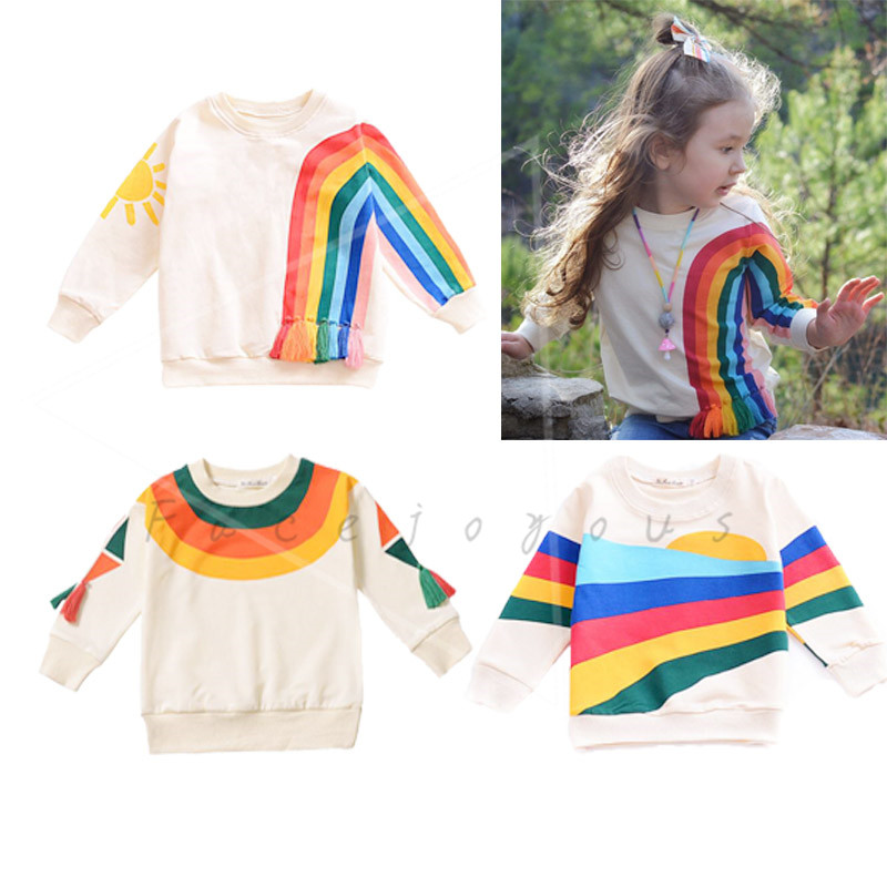 Kids Boys Sweatshirt Fashion Design 2019 Spring Children Girls T-shirt Cotton Long Sleeve O-neck Rainbow Printed Tassel T ShirtsKids Boys Sweatshirt Fashion Design 2019 Spring Children Girls T-shirt Cotton Long Sleeve O-neck Rainbow Printed Tassel T Shirts