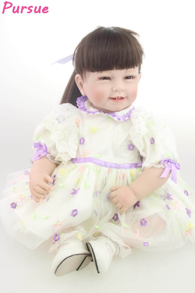 Pursue 22 inch Doll Reborn Princess Girl Doll for Kids Silicone Baby Dolls bebe reborn vinil de menina realista boneca 55cm pursue 20 inch doll reborn babies american girl doll toys for girls kids silicone baby princess doll bebe reborn silicone menina