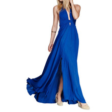 Halter Plunging Neckline Slit Women's Bridesmaid Evening Prom Party Maxi Dress plunging neckline puff sleeve wrap sweater