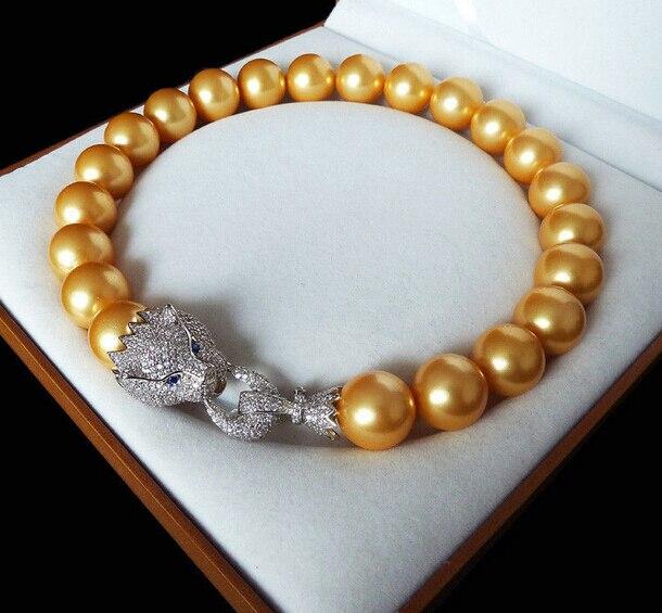 Livraison gratuite HOT 20 mm or jaune shell incrustation de nacre zircon leopard head collier de luxe