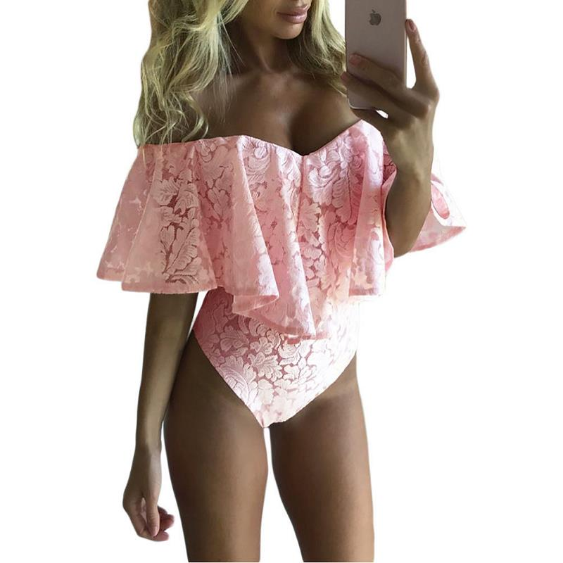 ADEWEL Sexy Floral Lace Bodysuit Women Rompers Overalls Mesh Neck Mini Body Playsuit Bodycon Jumpsuit Body Feminino in Bodysuits from Women 39 s Clothing