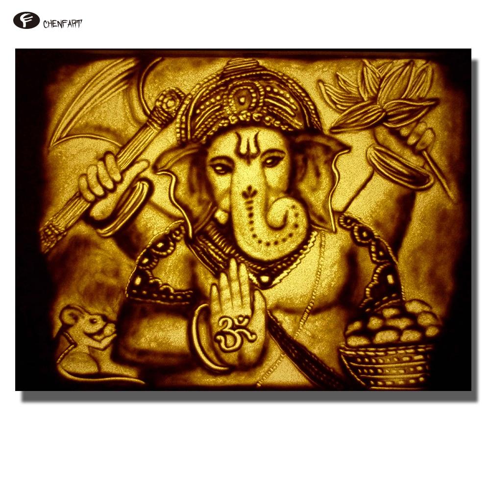 CHENFART kein Rahmen Leinwand Dekorative Bilder Lord Ganesha Sand ...
