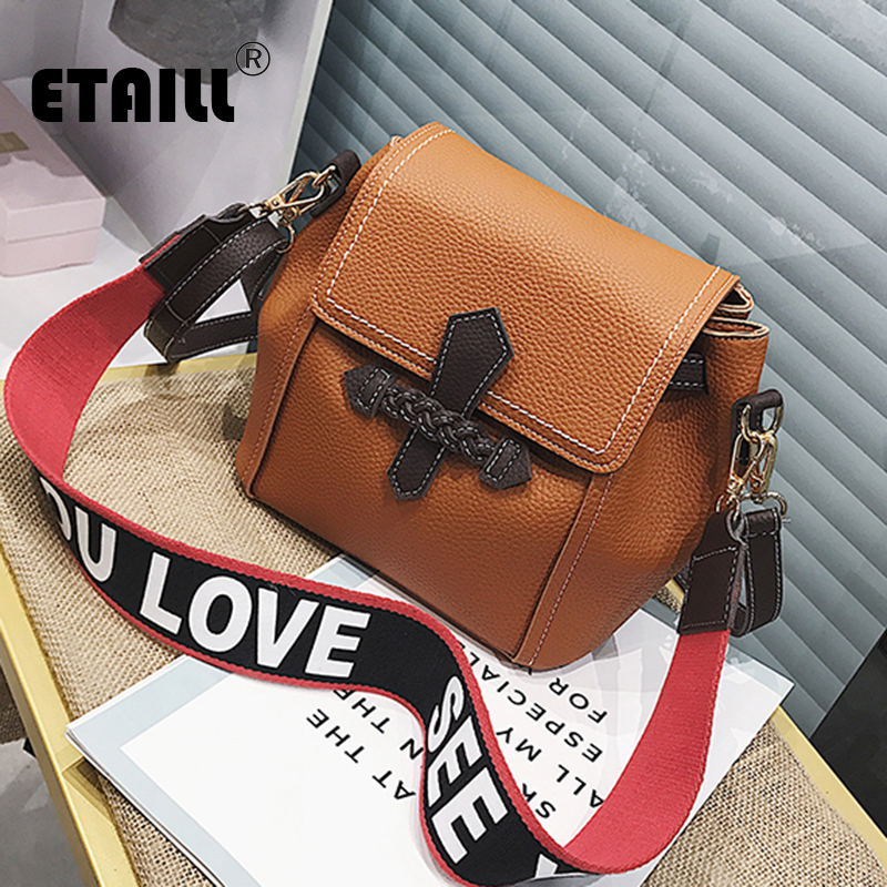 ETAILL New Crossbody Bags for Women Messenger Bags Fashion Colored Letter Wide Strap Shoulder Bag Female Small Handbag Flap Bags