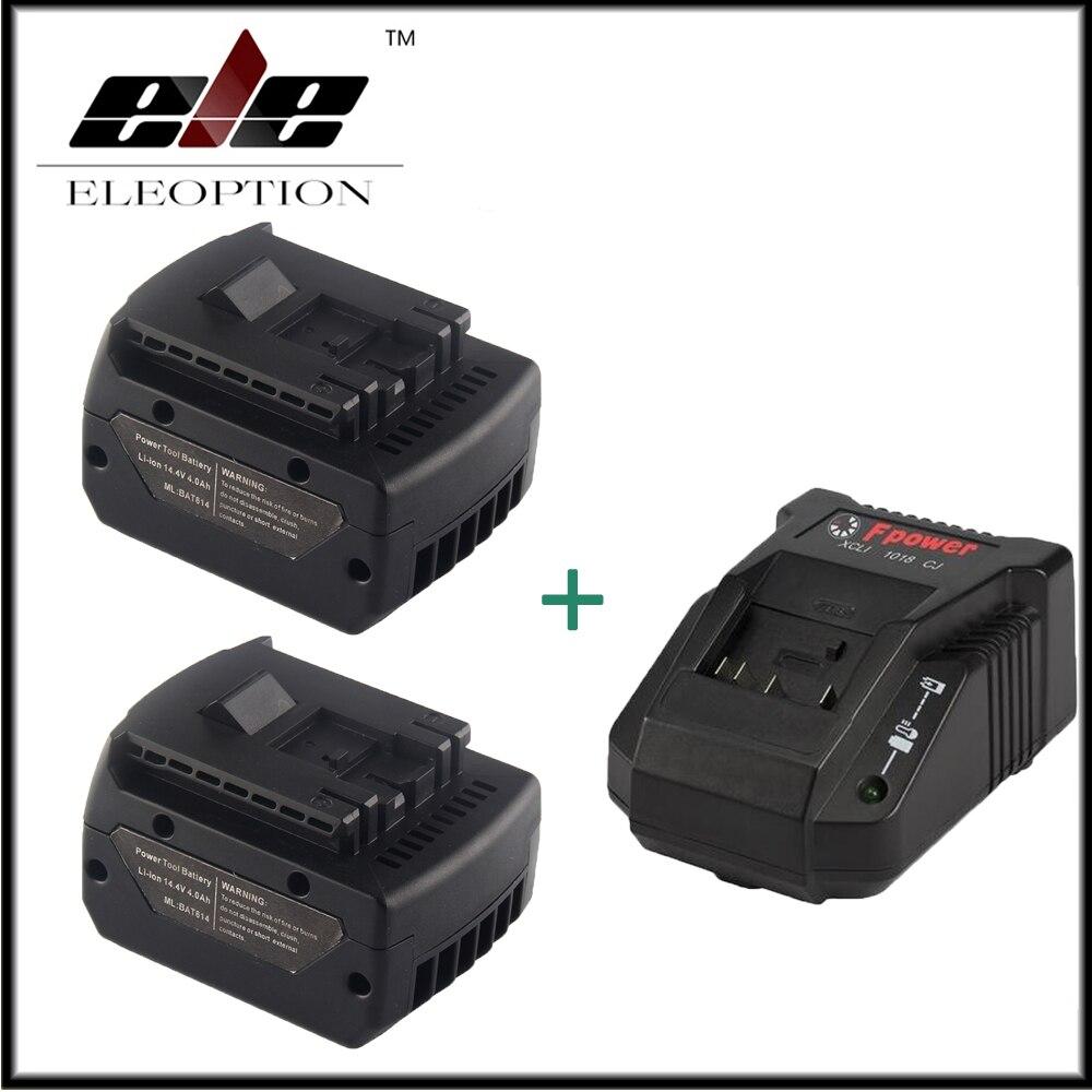 2x 14.4V 4000mAh Li-ion Rechargeable Battery for Bosch BAT607 BAT607G BAT614 2 607 336 318 + 10.8V-18V Charger new 14 4v 3 0ah lithium ion replacement rechargeable power tool battery for bosch bat607 bat607g bat614 bat614g 2 607 336 318