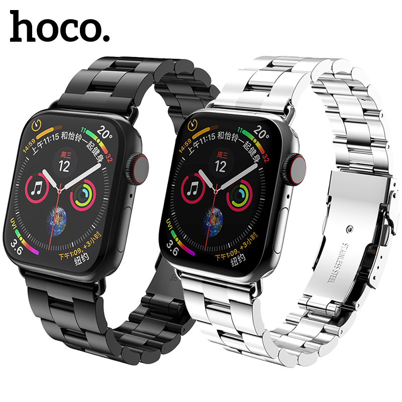 HOCO Band for Apple Watch Series 4 Series 3 Double Safety Buckle Stainless Steel Smart Watch Strap for iWatch 44mm 40mm Strap in Watchbands from Watches