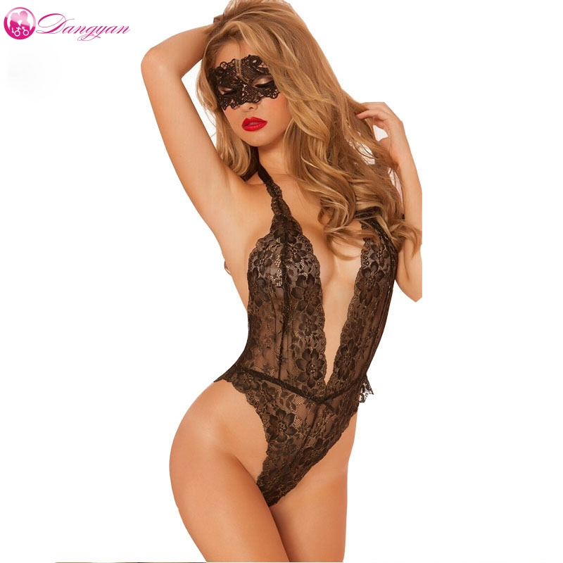 DangYan plus size deep_v neck sexy teddy with eye mask adult lace transparent erotic catsuit sexy costumes sexy lingerie