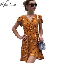 Deep V-neck Sexy Dresses Short Sleeve Women Dress Summer Vacation Casual Sunsuit Female Floral Print Beach Wear Dress Women