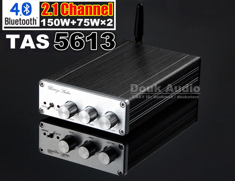 Douk Audio  Bluetooth 4.0 Hi-Fi TAS5613 Amplifier 2.1 Channel Subwoofer Power Amp Free shipping douk audio high quality handmade hi fi el34 vacuum