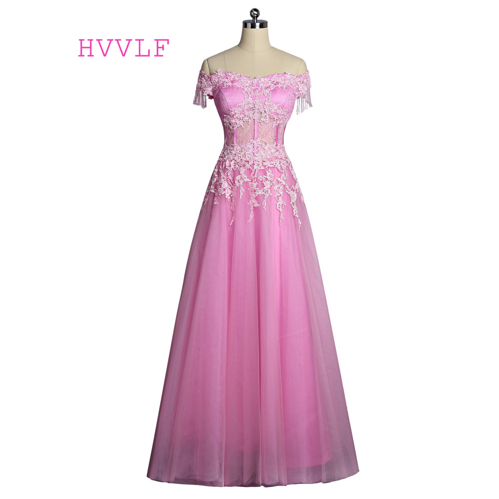 Pink 2019   Prom     Dresses   A-line Cap Sleeves Appliques Lace See Through Elegant Long Evening   Dresses   Evening Gown Robe De Soiree