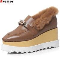 ASUMER Size 42 Black Brown Fashion Autumn Winter Pumps Shoes Platform Wedges Shoes For Women Genuine